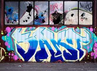 Trennwand mit Graffiti